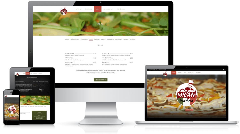 Refenrenssi Pizzeria Milan Maikkula nettisivut | Delanet